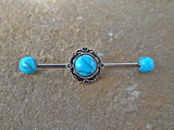 Turquoise Industrial Barbell Scaffold Piercing Turquoise Ends 14ga Body Jewelry Piercing Jewelry - BodyDazzle - 2