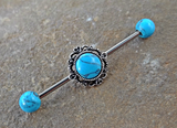 Turquoise Industrial Barbell Scaffold Piercing Turquoise Ends 14ga Body Jewelry Piercing Jewelry - BodyDazzle - 1