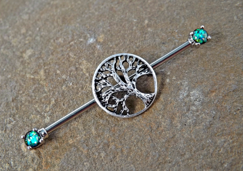 Tree of Life Glitter Opal Industrial Barbell Scaffold Piercing 14ga Body Jewelry Piercing Jewelry - BodyDazzle - 1
