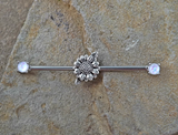 Daisy Industrial Barbell Opal Ends Scaffold Piercing 14ga Body Jewelry Piercing Jewelry 316L Surgical Stainless Steel - BodyDazzle - 3