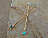 Gold Opal Industrial Barbell Opal Ends Scaffold Piercing 14ga 316L Surgical Steel Body Jewelry - BodyDazzle - 1