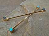 Gold Opal Industrial Barbell Opal Ends Scaffold Piercing 14ga 316L Surgical Steel Body Jewelry - BodyDazzle - 2