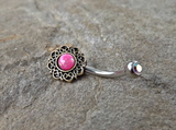 Tribal Pink Opal Bronze Belly Button Navel Ring Body Jewelry Fits in Navel 14ga Cute Belly Ring - BodyDazzle - 2