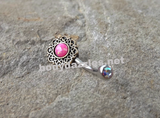 Tribal Pink Opal Bronze Belly Button Navel Ring Body Jewelry Fits in Navel 14ga Cute Belly Ring - BodyDazzle - 1