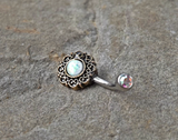 Tribal White Opal Bronze Belly Button Navel Ring Body Jewelry Fits in Navel 14ga Cute Belly Ring - BodyDazzle - 2