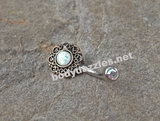 Tribal White Opal Bronze Belly Button Navel Ring Body Jewelry Fits in Navel 14ga Cute Belly Ring - BodyDazzle - 1