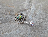 Tribal Green Opal Bronze Belly Button Navel Ring Body Jewelry Fits in Navel 14ga Cute Belly Ring - BodyDazzle - 1
