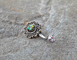 Tribal Glitter Opals Bronze Belly Button Navel Ring Body Jewelry Fits in Navel 14ga Cute Belly Ring Surgical Steel - BodyDazzle - 4