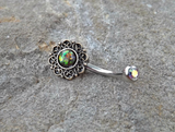 Tribal Green Opal Bronze Belly Button Navel Ring Body Jewelry Fits in Navel 14ga Cute Belly Ring - BodyDazzle - 2