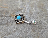 Tribal Turquoise Bronze Belly Button Navel Ring Body Jewelry Fits in Navel 14ga Cute Belly Ring - BodyDazzle - 1