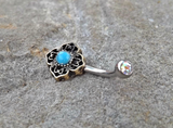 Tribal Turquoise Bronze Belly Button Navel Ring Body Jewelry Fits in Navel 14ga Cute Belly Ring - BodyDazzle - 2
