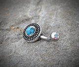 Tribal Turquoise Bronze Belly Button Navel Ring Body Jewelry Fits in Navel 14ga Cute Belly Ring Surgical Steel - BodyDazzle - 1