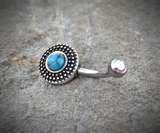 Tribal Turquoise Bronze Belly Button Navel Ring Body Jewelry Fits in Navel 14ga Cute Belly Ring Surgical Steel - BodyDazzle - 2