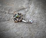 Tribal Glitter Opal Bronze Belly Button Navel Ring Body Jewelry Fits in Navel 14ga Cute Belly Ring Surgical Steel - BodyDazzle - 4