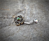 Tribal Green Bronze Belly Button Navel Ring Body Jewelry Fits in Navel 14ga Cute Belly Ring - BodyDazzle - 2