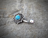 Tribal Glitter Opals Bronze Belly Button Navel Ring Body Jewelry Fits in Navel 14ga Cute Belly Ring Surgical Steel - BodyDazzle - 5