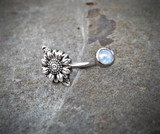 Sun Flower Cute Belly Button Navel Ring Body Jewelry Fits in Navel 14ga Belly Ring Surgical Steel - BodyDazzle - 3