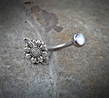 Sun Flower Cute Belly Button Navel Ring Body Jewelry Fits in Navel 14ga Belly Ring Surgical Steel - BodyDazzle - 2