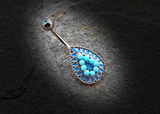 Vintage Turquoise Bead Teardrop 316L Surgical Steel Navel Ring 14ga Belly Button Ring - BodyDazzle - 1