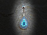 Vintage Turquoise Bead Teardrop 316L Surgical Steel Navel Ring 14ga Belly Button Ring - BodyDazzle - 2