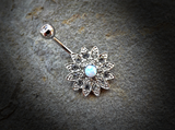 Gold Flower Sparkly Crystal Paved Opal Belly Ring 14ga Navel Ring Body Jewelry Piercing Surgical Steel - BodyDazzle - 3
