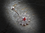 Paved Gems Flower with Center CZ 316L Surgical Steel Navel Ring 14ga Belly Button Ring - BodyDazzle - 2