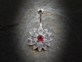 Pink Paved Gems Flower with Center CZ 316L Surgical Steel Navel Ring - BodyDazzle - 2