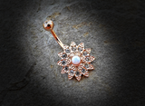 Gold Flower Sparkly Crystal Paved Opal Belly Ring 14ga Navel Ring Body Jewelry Piercing Surgical Steel - BodyDazzle - 1
