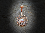 Gold Flower Sparkly Crystal Paved Opal Belly Ring 14ga Navel Ring Body Jewelry Piercing Surgical Steel - BodyDazzle - 2
