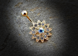 Paved Gems Flower with Center CZ 316L Surgical Steel Navel Ring 14ga Belly Button Ring - BodyDazzle - 6