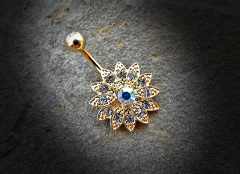 Gold Paved Gems Flower with Center CZ 316L Surgical Steel Navel Ring 14ga Belly Button Ring - BodyDazzle - 1