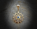 Gold Paved Gems Flower with Center CZ 316L Surgical Steel Navel Ring 14ga Belly Button Ring - BodyDazzle - 2