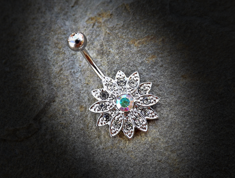 Paved Gems Flower with Center CZ 316L Surgical Steel Navel Ring 14ga Belly Button Ring - BodyDazzle - 1