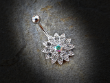 Paved Gems Flower with Center CZ 316L Surgical Steel Navel Ring 14ga Belly Button Ring - BodyDazzle - 5
