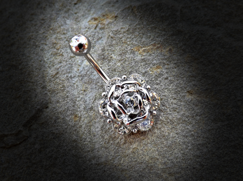 Flower with Gems Belly Ring 14ga 316L Surgical Steel Body Jewelry Navel Ring - BodyDazzle - 1