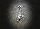 Flower with Gems Belly Ring 14ga 316L Surgical Steel Body Jewelry Navel Ring - BodyDazzle - 2