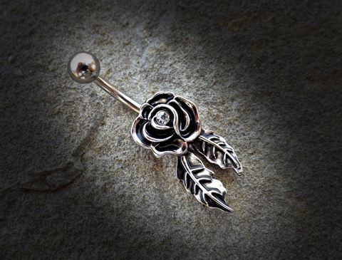 Rose Belly Ring Gold and Silver Navel Ring Body Jewelry Piercing Jewelry 14ga Surgical Steel - BodyDazzle - 1