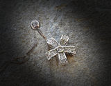 Five Petal Flower Belly Ring with Round CZ Center 316L Surgical Steel Belly Button Navel Rings - BodyDazzle - 1