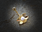 Gold Pearl Ariel's Shell  Belly Button Ring Navel Ring Body Jewelry - BodyDazzle - 1
