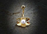 Gold Pearl Ariel's Shell  Belly Button Ring Navel Ring Body Jewelry - BodyDazzle - 2