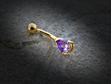 Tanzinite Tear Drop CZ 14kt Gold Plated Navel Ring 14ga Belly Button Ring Body Jewelry - BodyDazzle - 1