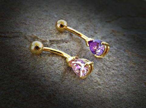 Tanzinite or Pink Tear Drop CZ 14kt Gold Plated Navel Ring 14ga Belly Button Ring Body Jewelry - BodyDazzle - 1