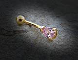 Pink Tear Drop CZ 14kt Gold Plated Navel Ring Belly Button Ring Body Jewelry 14ga - BodyDazzle - 1