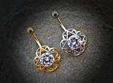 Gold Large Round CZ Center Tribal Filigree 316L Surgical Steel Belly Button Navel Rings - BodyDazzle - 4