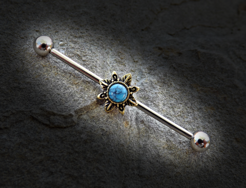 Tribal Sun Industrial Barbell Sunburst Turquoise Center Scaffold Bar 14ga 316L Surgical Stainless Steel - BodyDazzle - 1