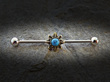 Tribal Sun Industrial Barbell Sunburst Turquoise Center Scaffold Bar 14ga 316L Surgical Stainless Steel - BodyDazzle - 2