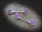 Amethyst Semi Precious Stone Nipple Barbell Prong Surgical Steel Nipple Bar Rings 14ga - BodyDazzle - 2