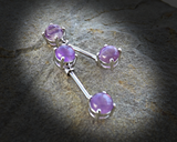 Amethyst Semi Precious Stone Nipple Barbell Prong Surgical Steel Nipple Bar Rings 14ga - BodyDazzle - 3