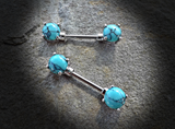 Set of Turqoiuse Semi Precious Stone Nipple Barbells Prong Set Surgical Steel Nipple Bar Rings 14ga - BodyDazzle - 3