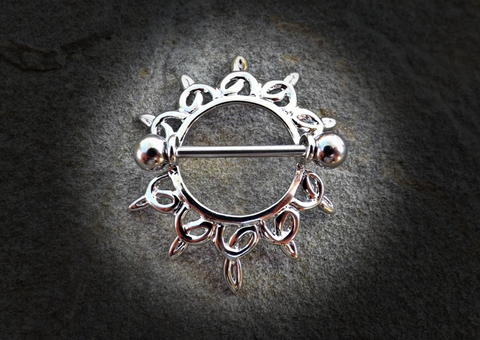 Swirling Sunburst Tribal Shield Nipple Ring with 316L Surgical Steel Barbell 14ga - BodyDazzle - 1